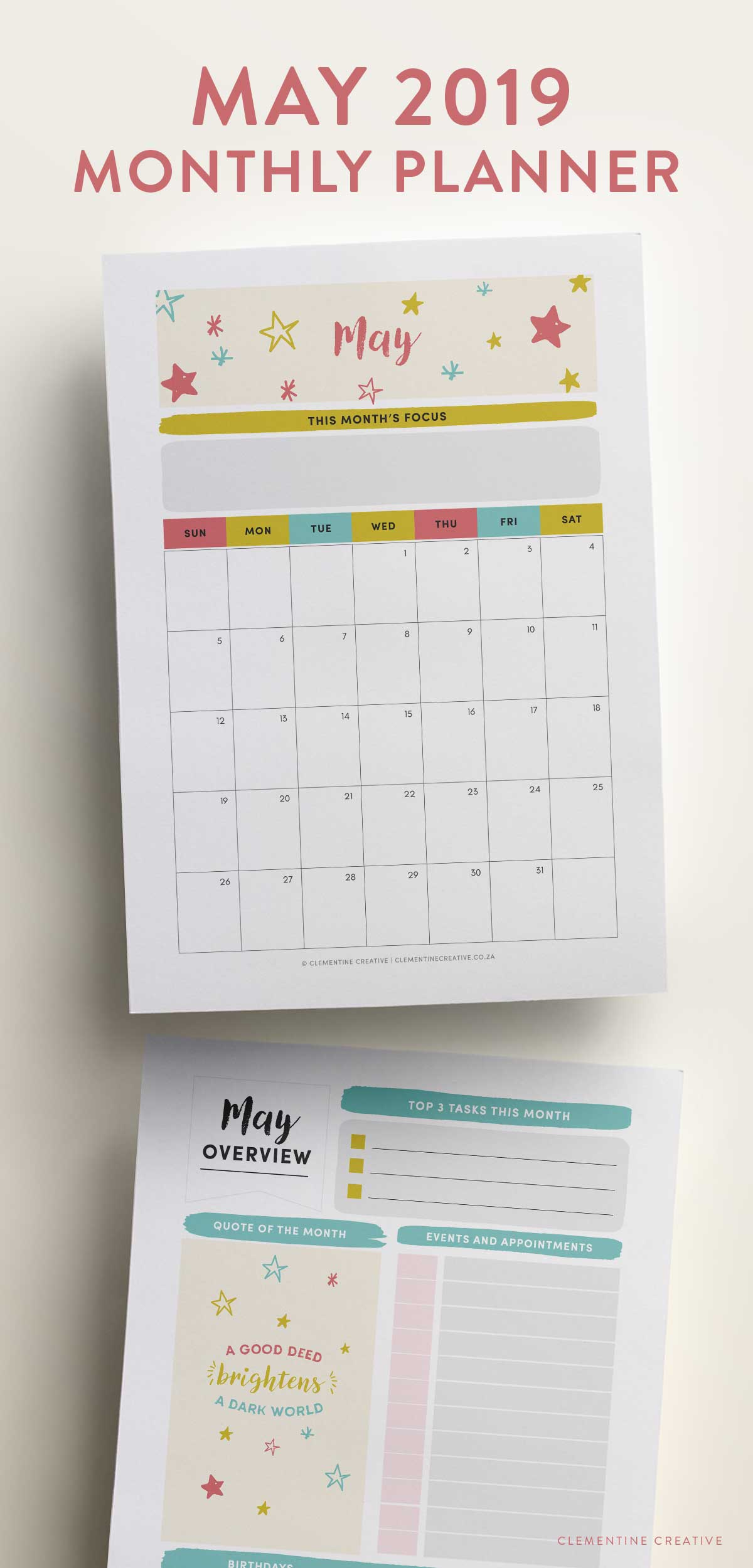 May 2019 Printable Monthly Planner Clementine Creative