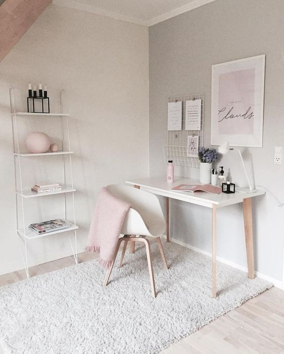 pink and grey home office space