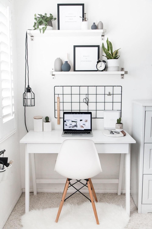 white scandinavian home office inspiration