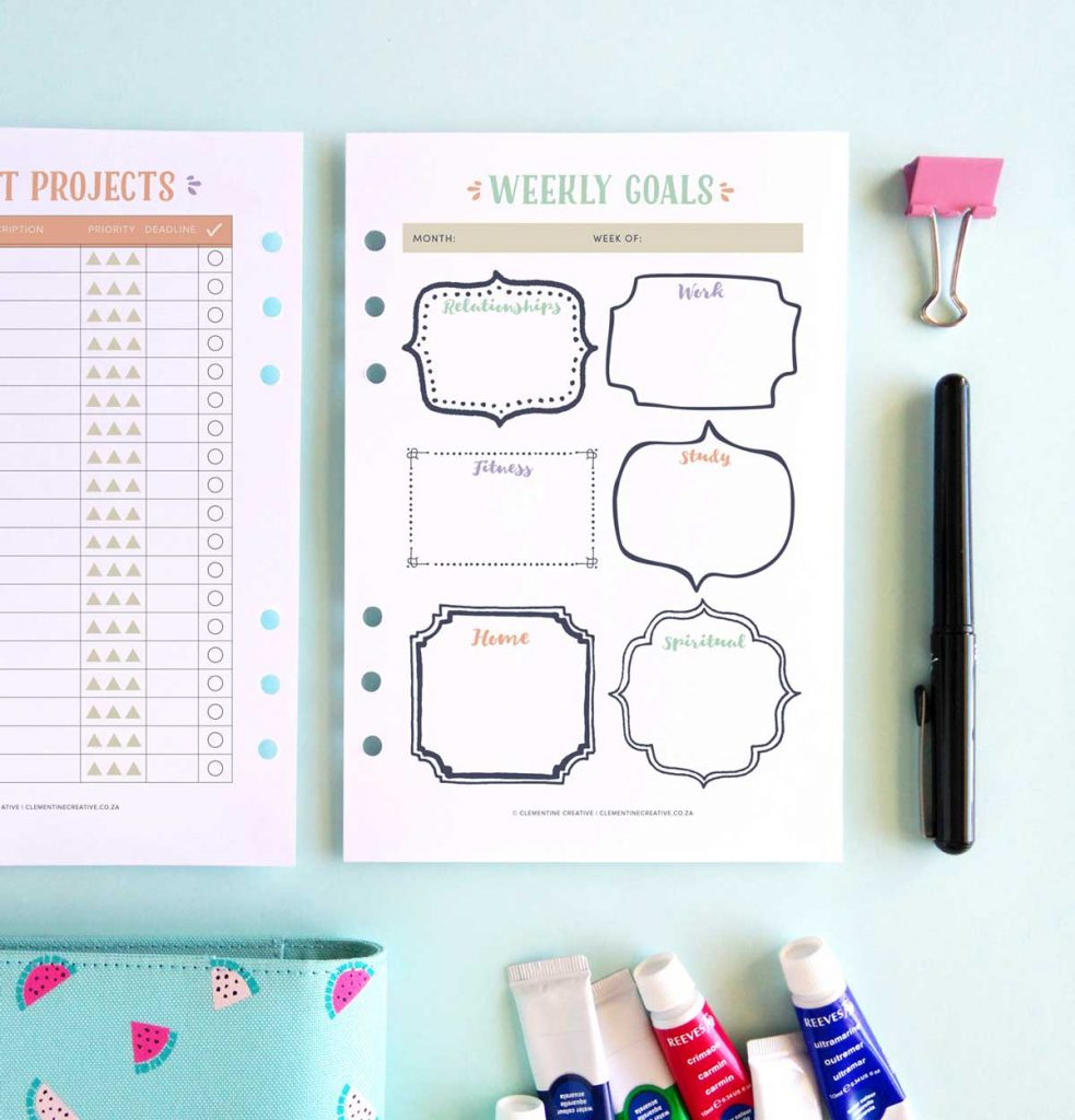 weekly goals printable