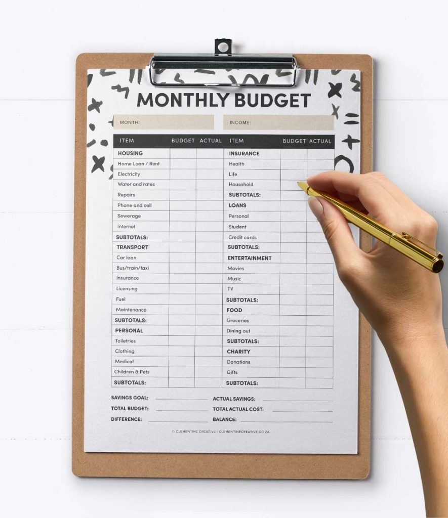 free printable budget tracker PDF