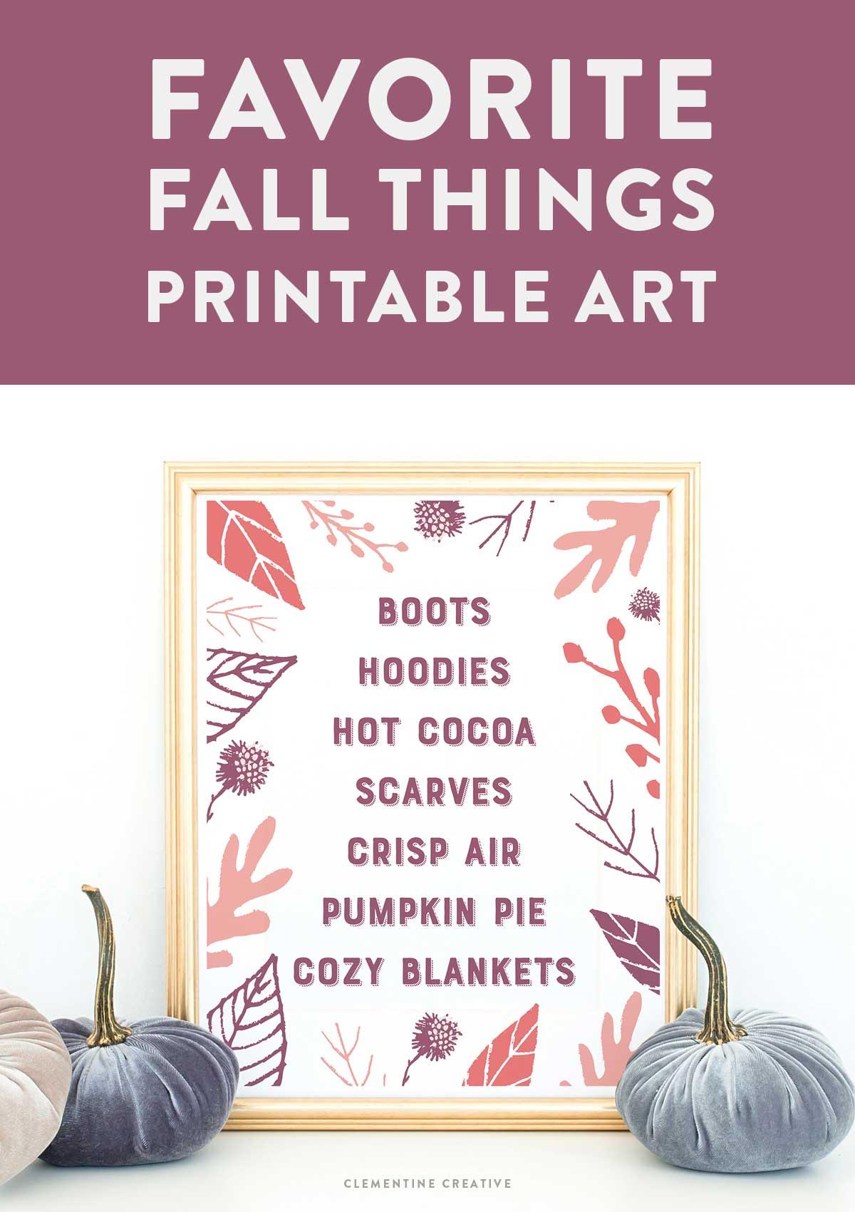 favorite fall things printable art