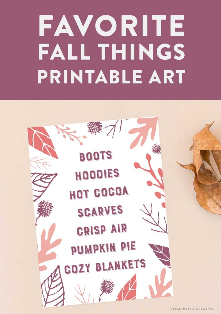 favorite fall things printable wall art