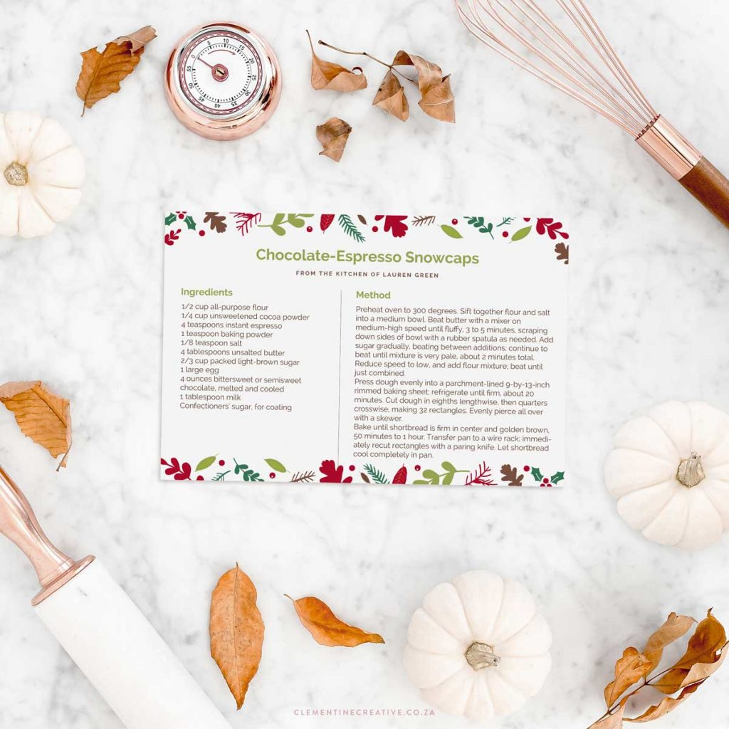 free printable Christmas recipe card templates