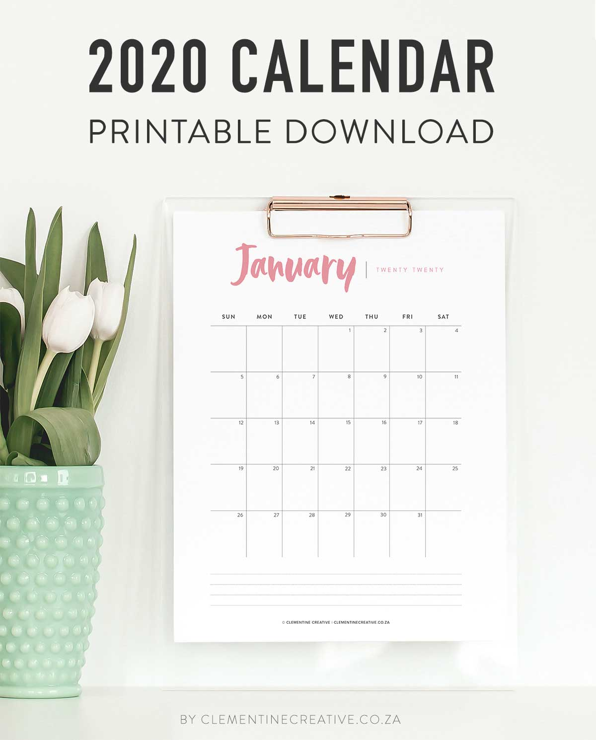 printable 2020 calendar with modern and minimal design