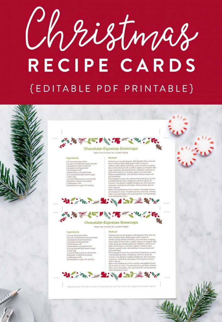 printable christmas recipe cards with editable text