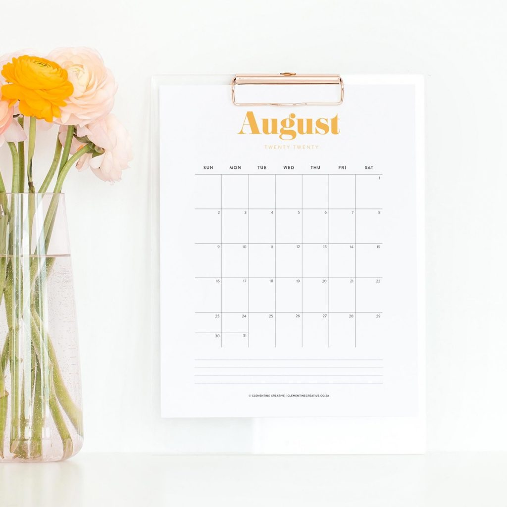 printable calendar with elegant typography