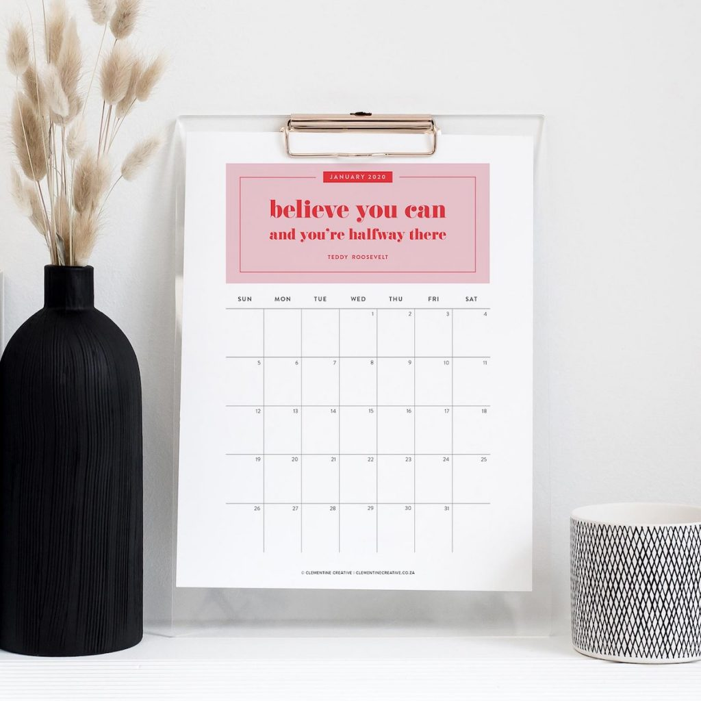 printable calendar with inspirational quotes