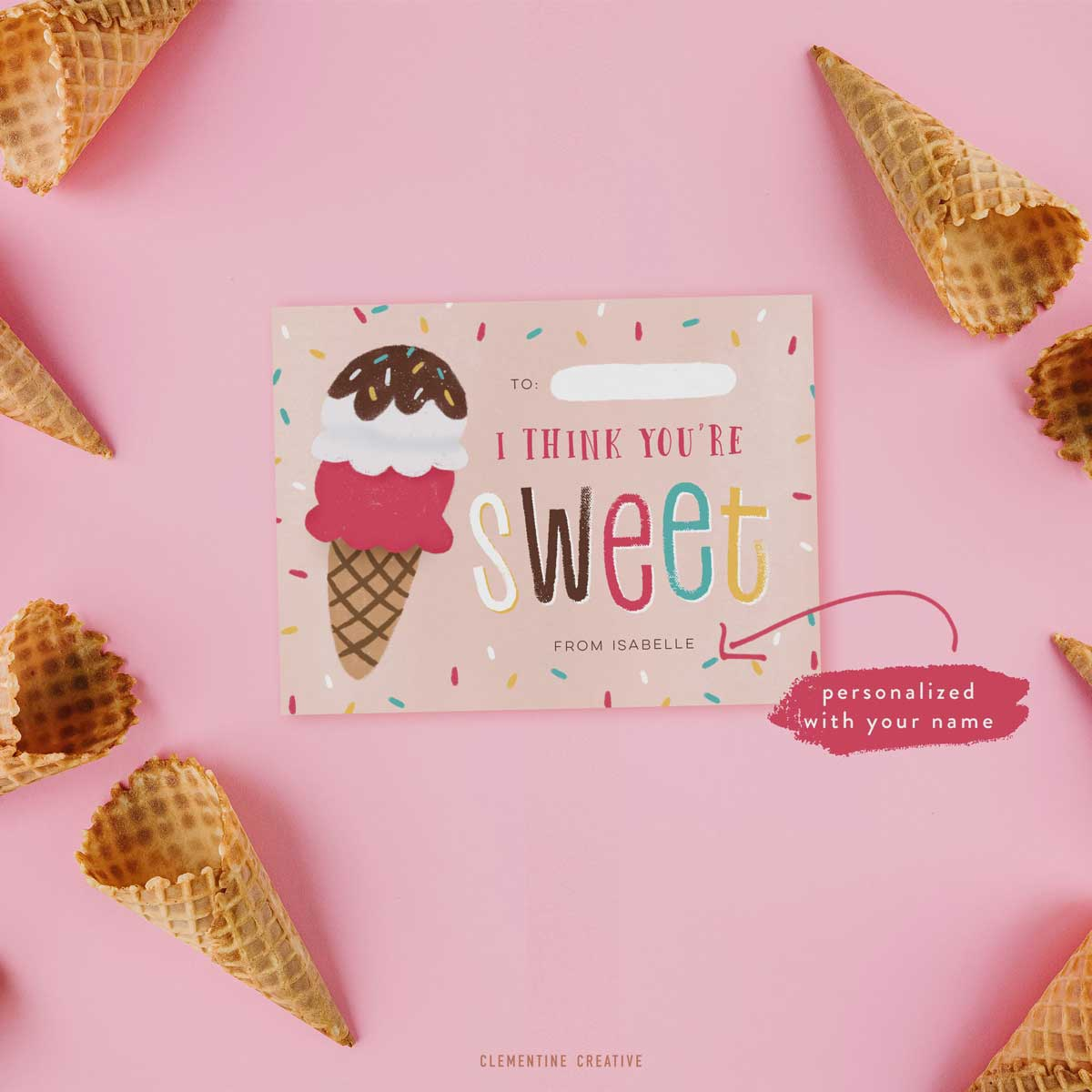 classroom valentine cards with ice cream design
