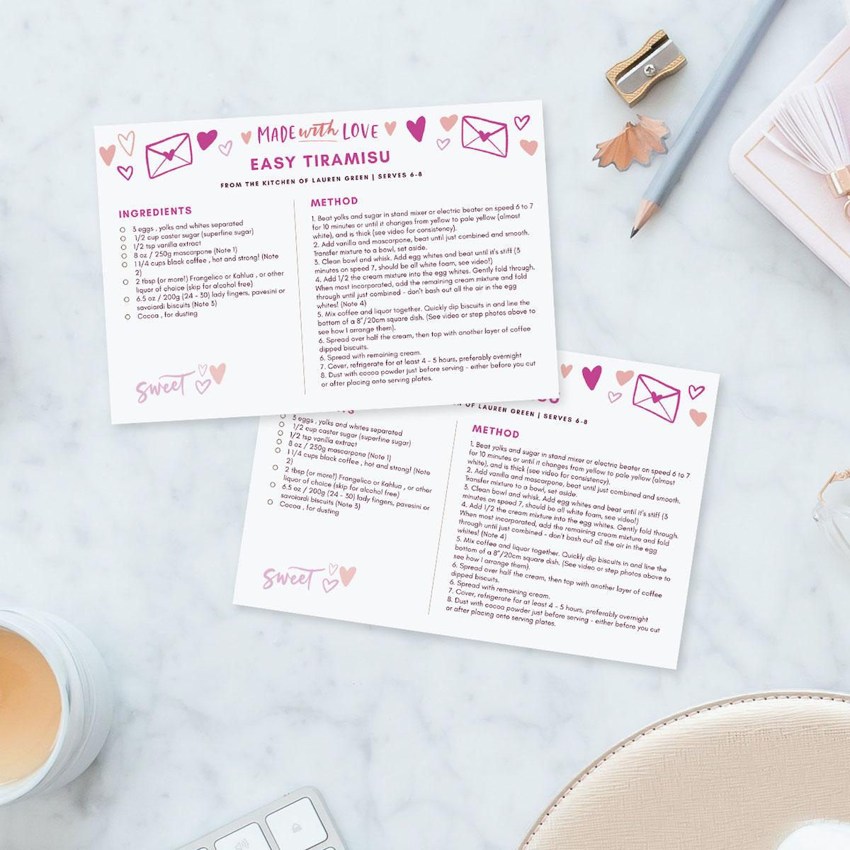 valentine's day recipe card template PDF
