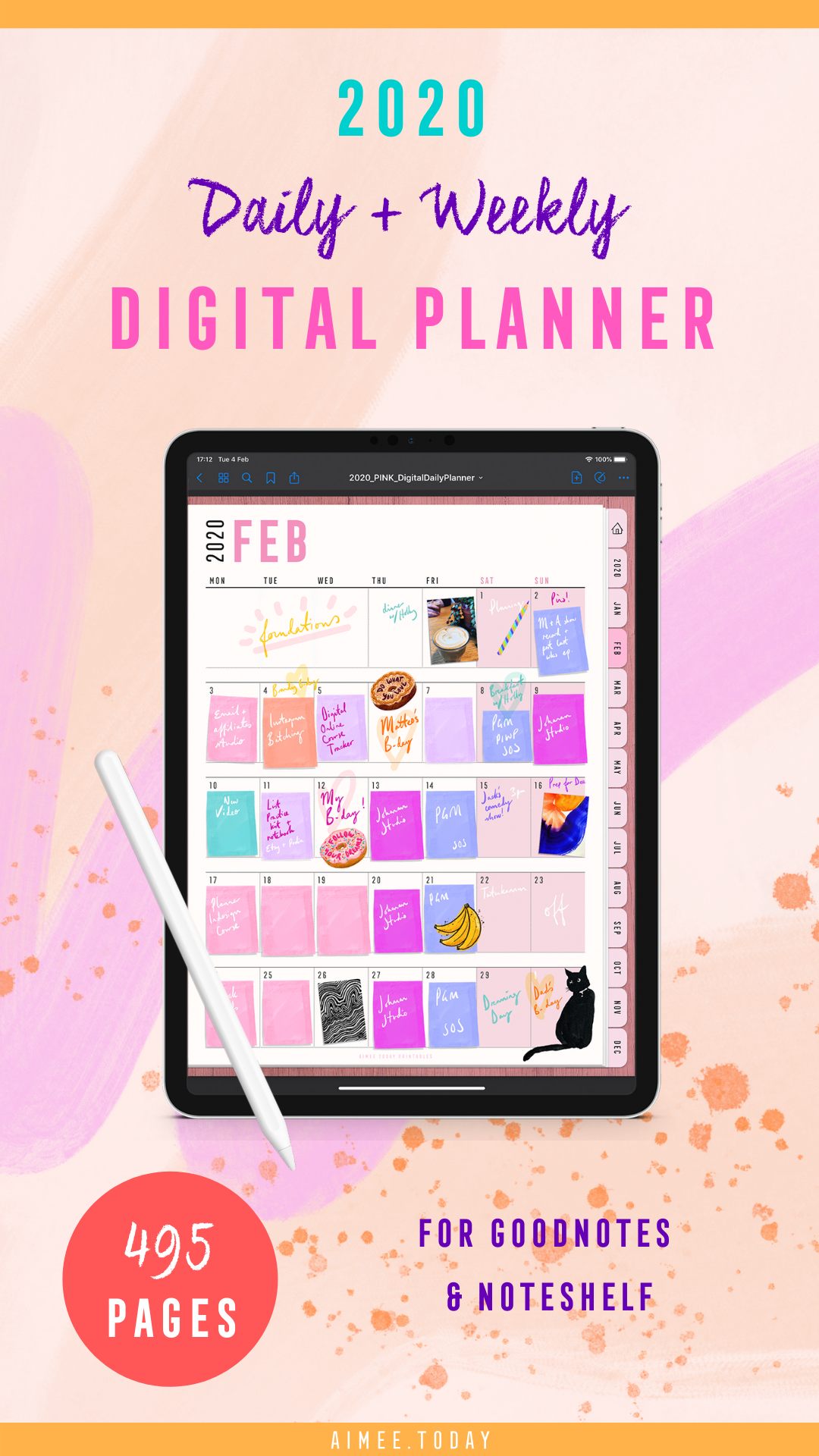 daily and weekly digital planner for goodnotes app