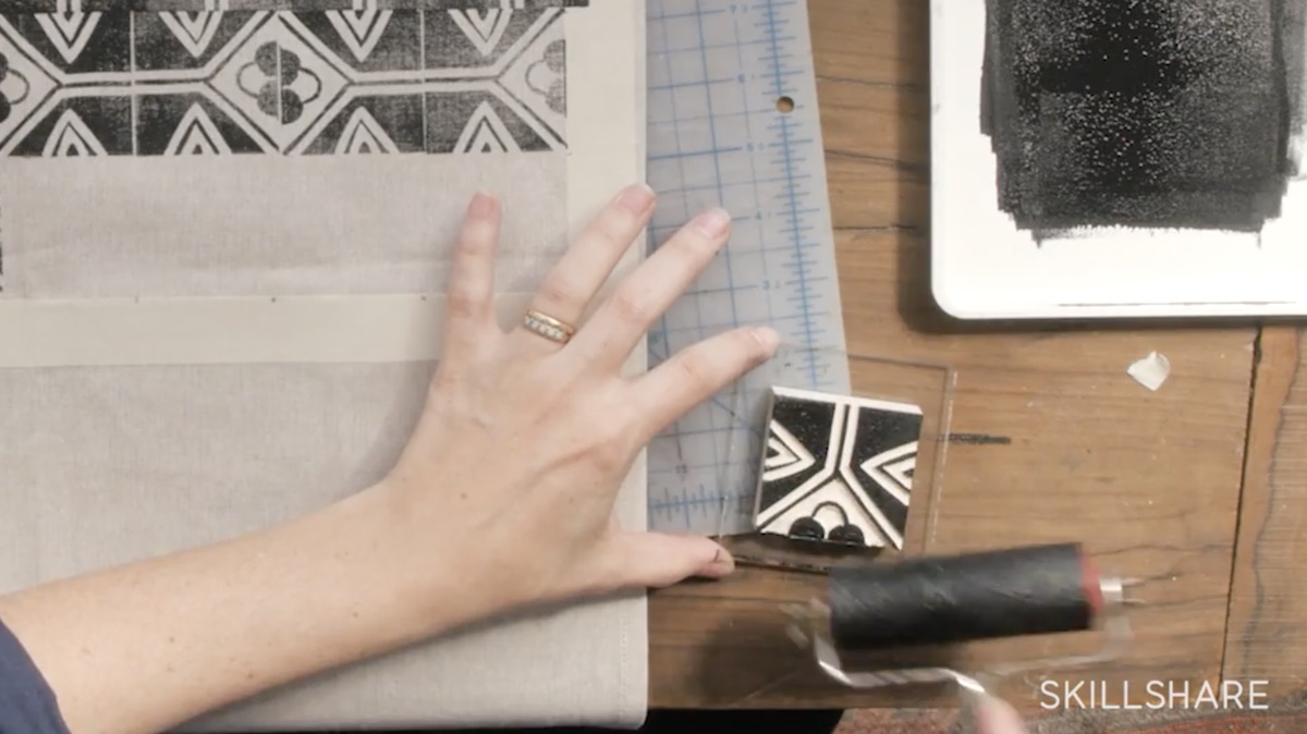 learn how to make a block pattern with your own custom stamp