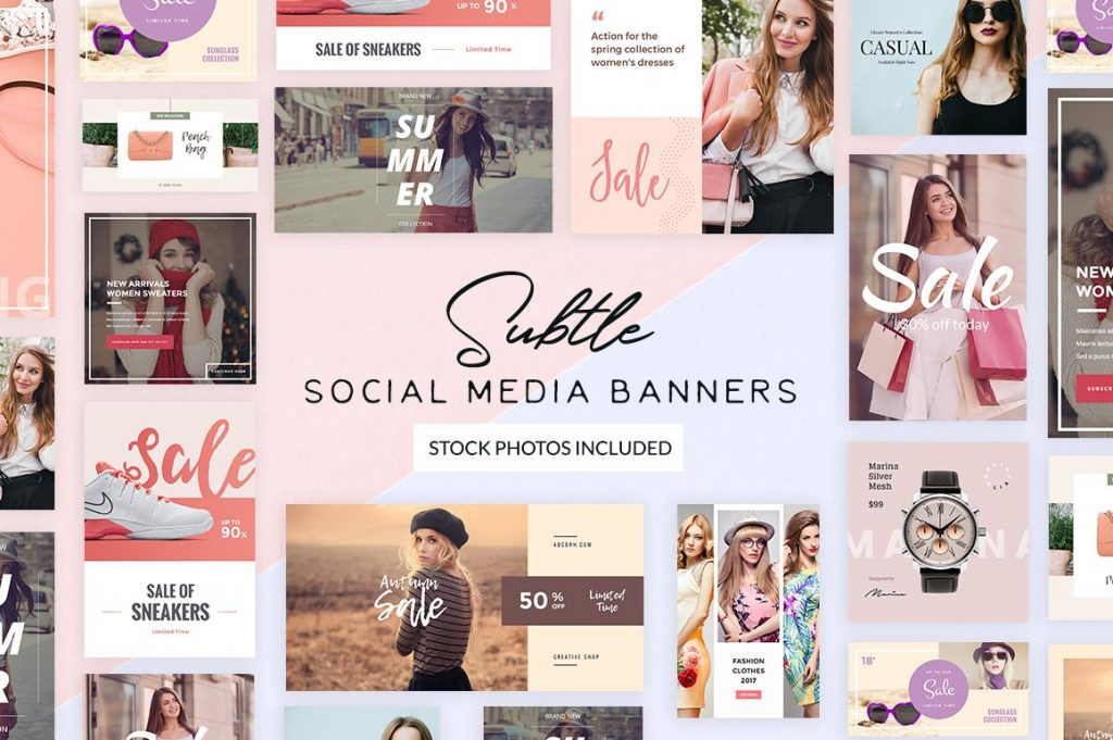 free subtle social media banner templates for feminine brands