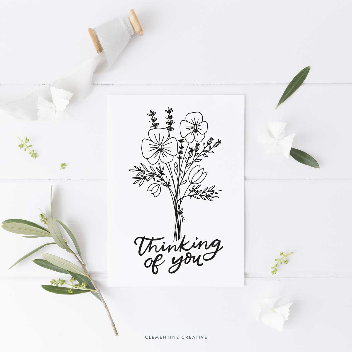 printable thinking of you card