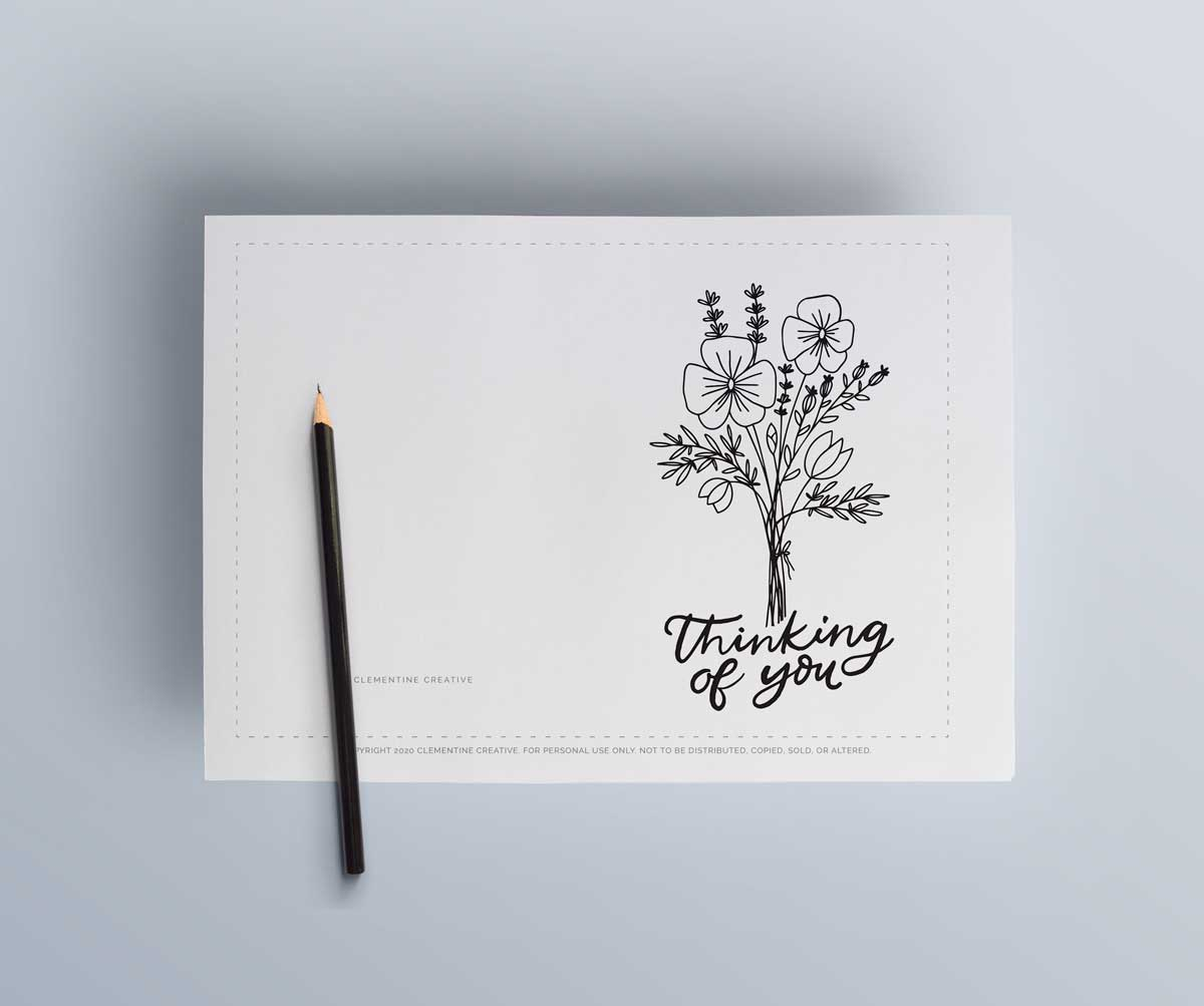 thinking of you colouring page cards