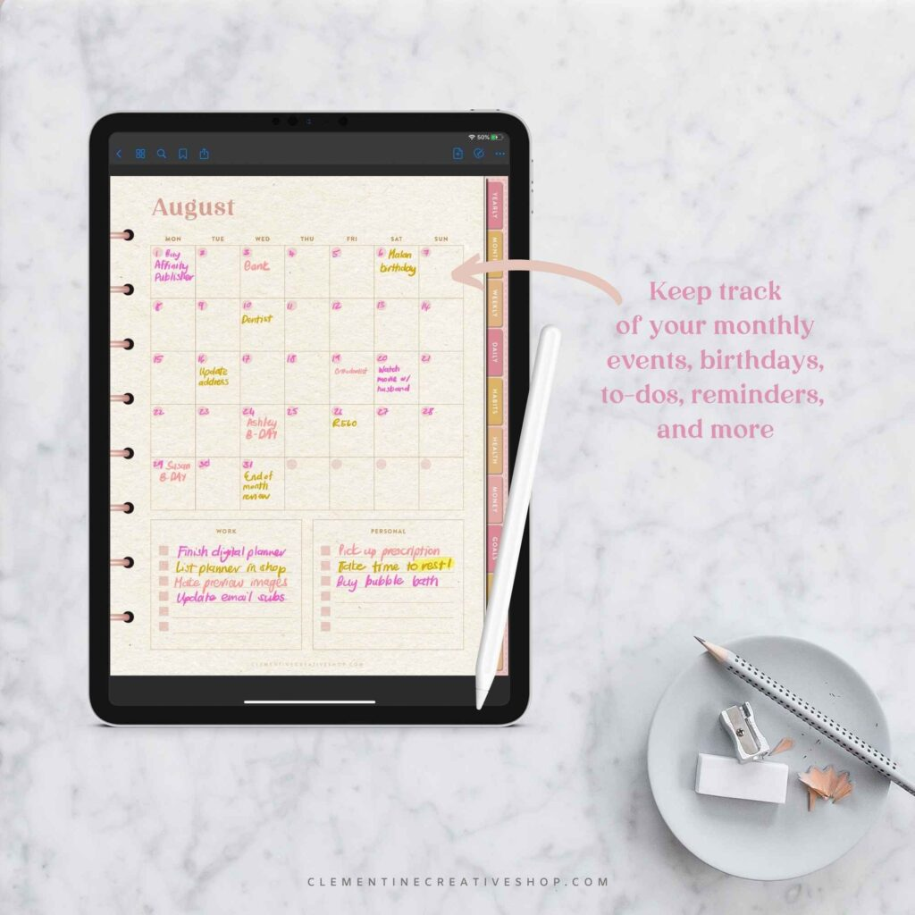 digital planner with monthly overview page