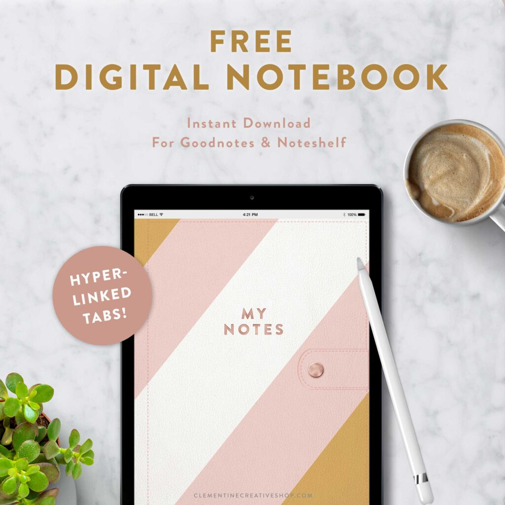 free digital notebook for use with goodnotes, noteshelf, etc.