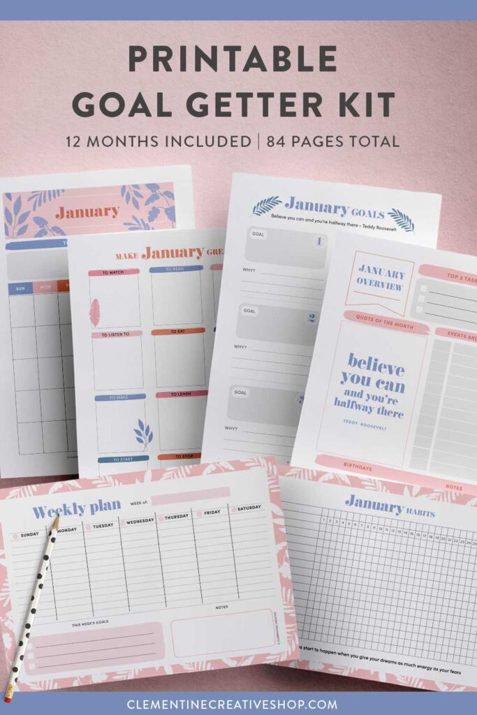 printable goal setting kit