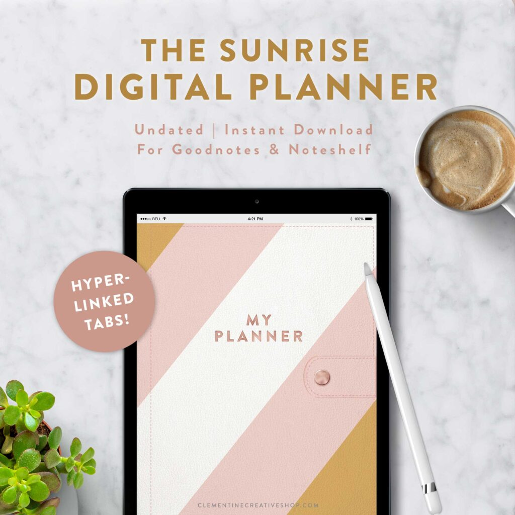 digital planner with stylish mustard and pink design