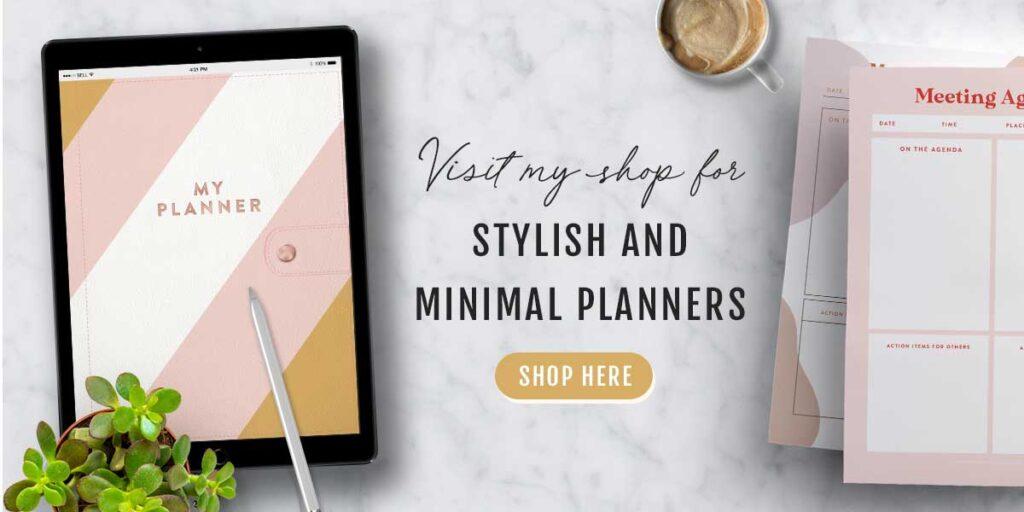 stylish and minimal printable and digital planners