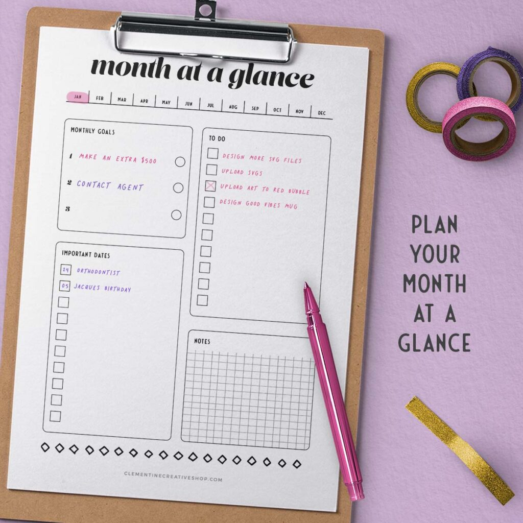 month at a glance printable