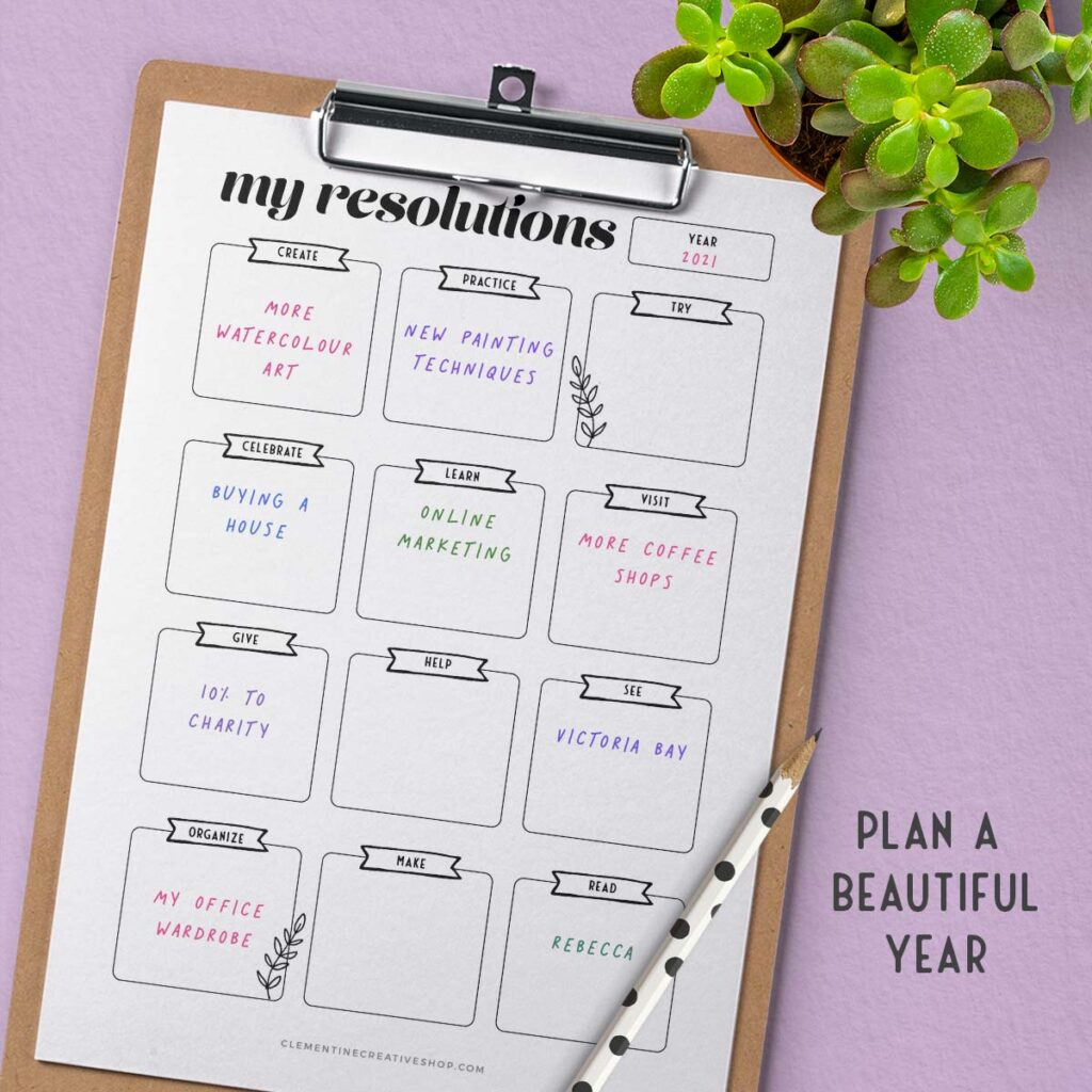 my new years resolutions printable