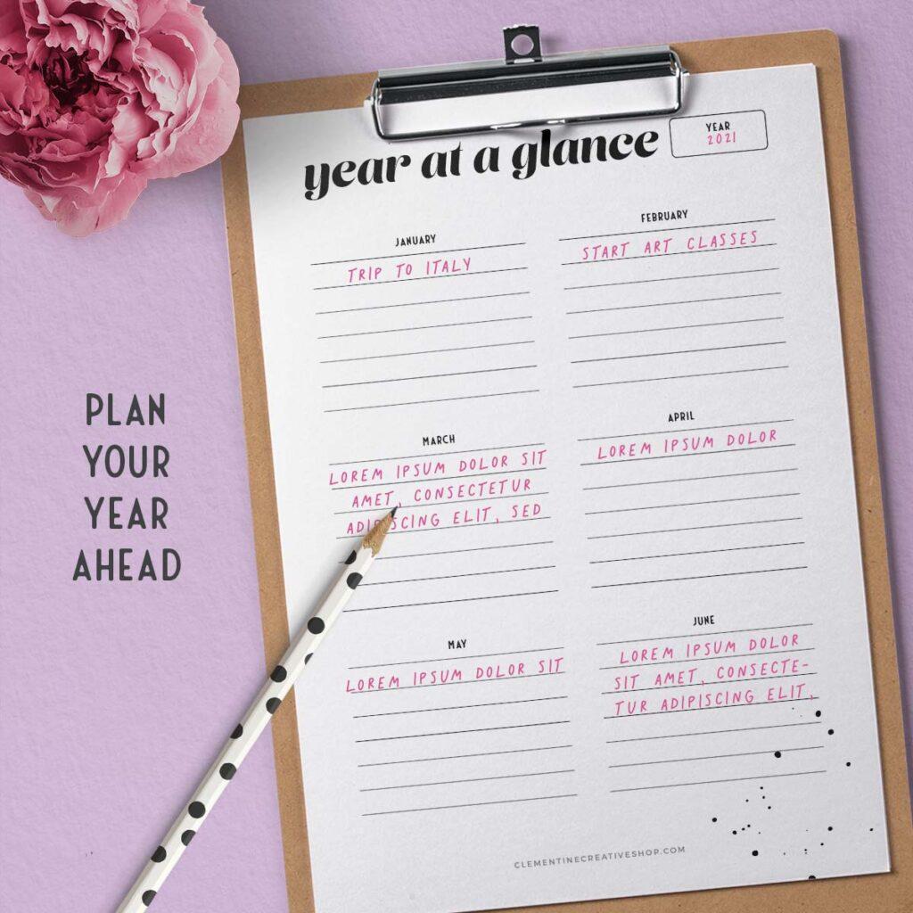 year at a glance printable pdf