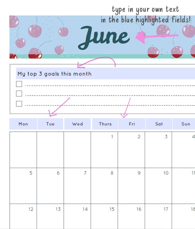 free printable june 2017 planner page